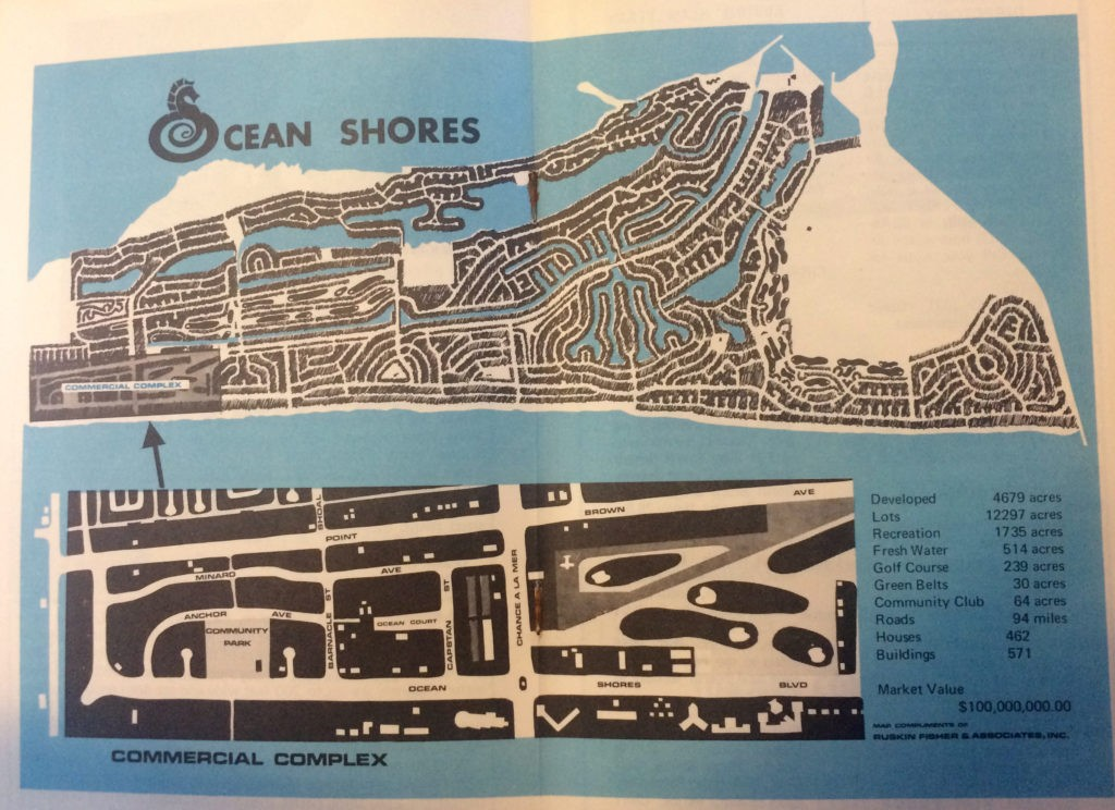 Vintage Ocean Shores, WA map from the 1970's with sea horse