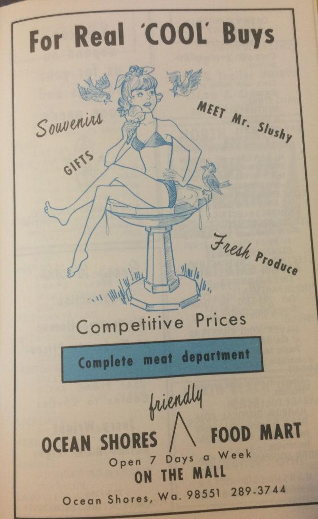 1970's advertising for ocean shores grocery stor
