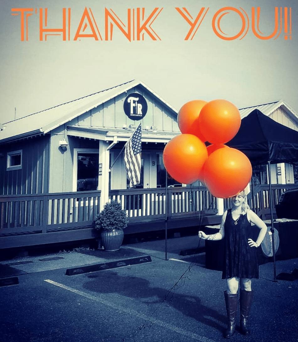 FIr Mercantile and Orange Balloons