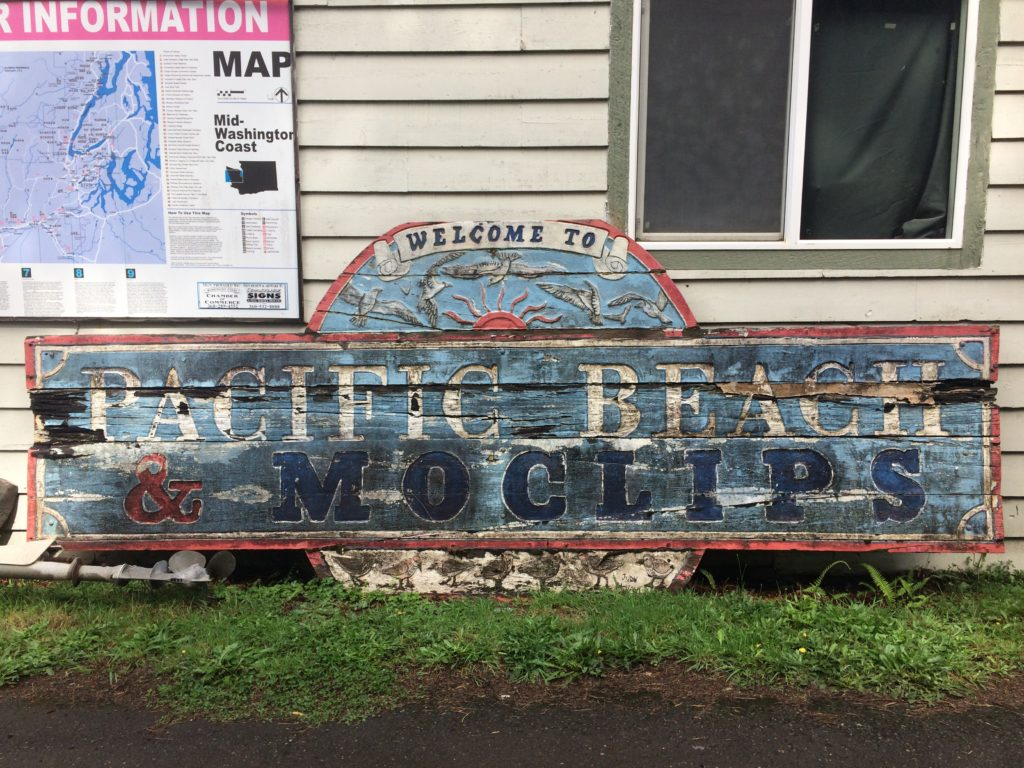 Pacific Beach and Moclips Sign carved by Judy McVay