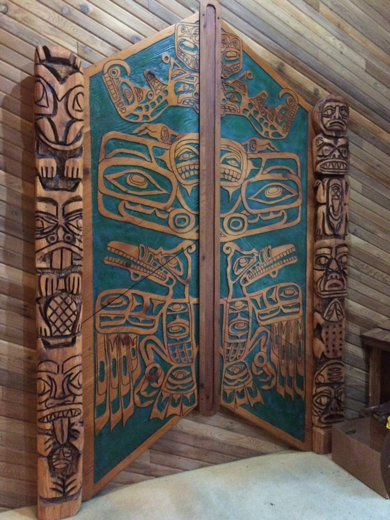 Carved Tiki design at Ocean Crest by Judy McVay