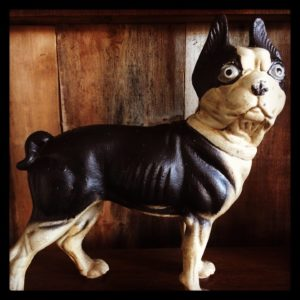 cast iron old french bulldog