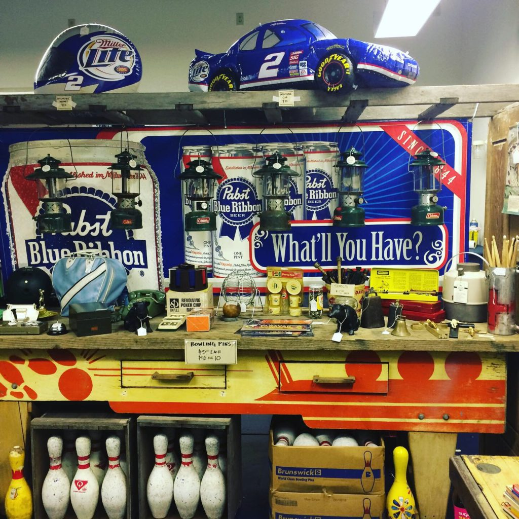 bowling pins and pabst display