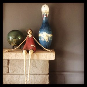 vintage blue bowling pin and glass float