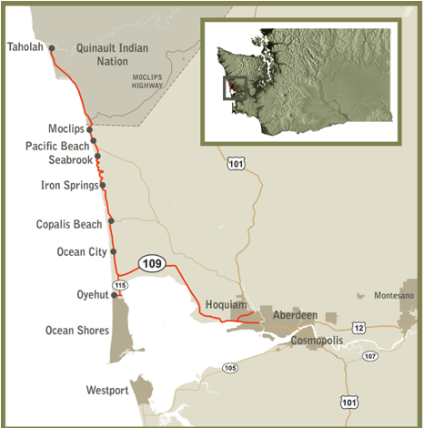 Hidden Coast Scenic Byway map