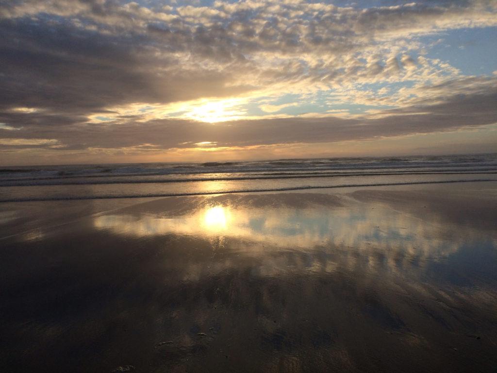 ocean shores sunset at beach