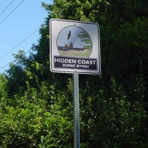 Hidden Coast Scenic Byway wayfinding sign